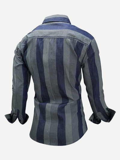 Men Vertical-Striped Collar Denim Shirt