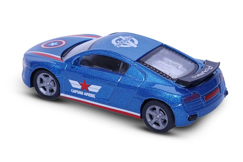 FASTR Die Cast Model 1:43 Scale Avengers Heroes Metal body Car for Age 3+(Captain America Blue)