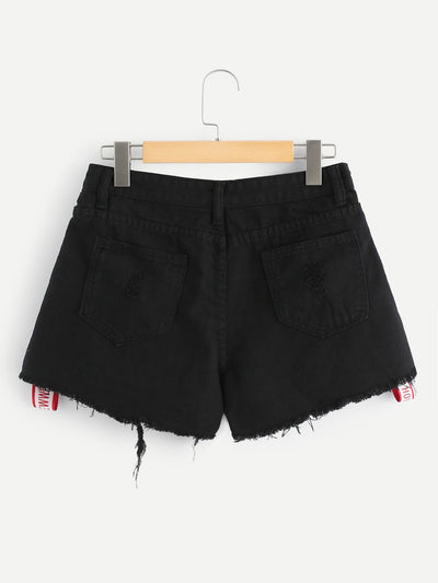 Letter Print Raw Hem Ripped Denim Shorts
