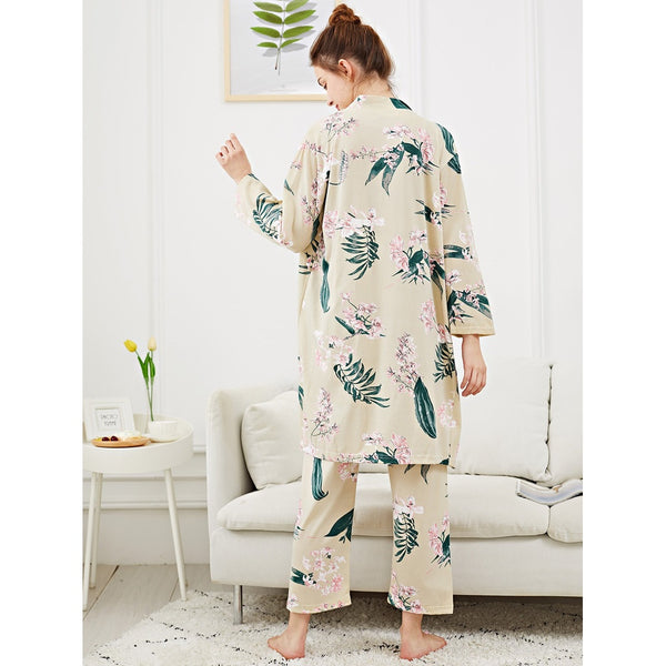 Flower Print Cami Pajama Set With Robe