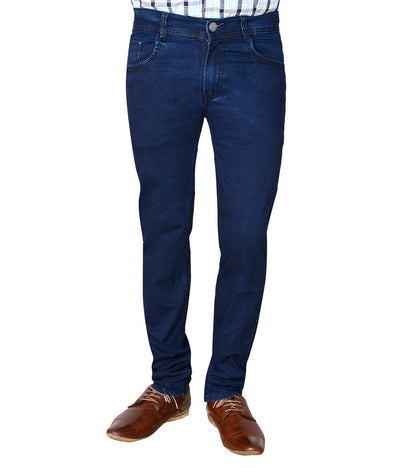 Flyjohn Trendy Blue Cotton Denim Men's Jeans- mydenimstore