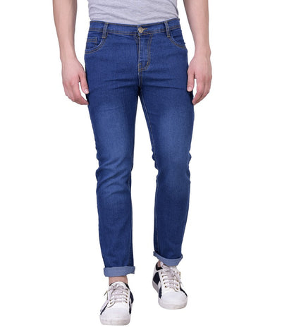Dark Blue Slim Washed Men's Jeans - mydenimstore