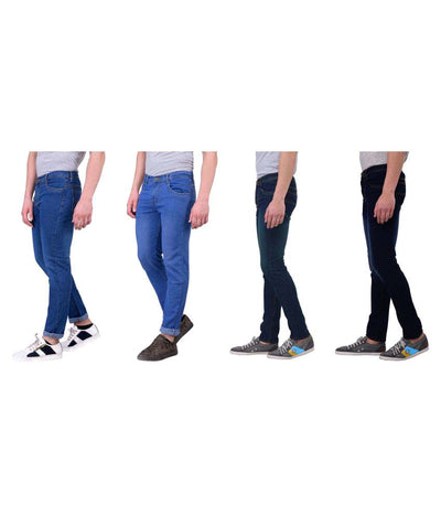 London Looks Multi Regular Fit Washed Men's Jeans(Pack of 4)