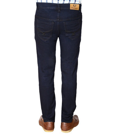 Flyjohn Trendy Dark Blue Cotton Denim Men's Jeans - mydenimstore