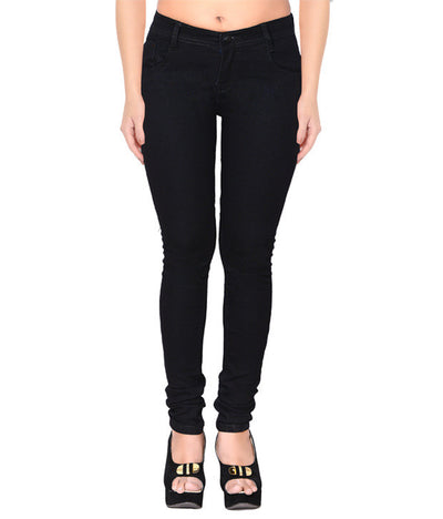 Flyjohn Black Cotton Mid Rise Women's Jeans - mydenimstore