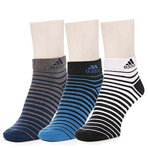 Adidas Flat Knit Quarter Striped Men's Socks - Pack of 3 (Grey/Blue/White)