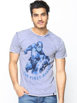Marvel by Free Authority Men's Round Neck Blue T-shirt