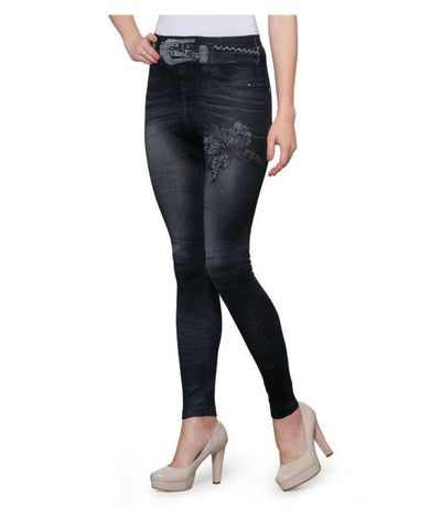 Oleva Black Cotton Lycra Jeggings - mydenimstore