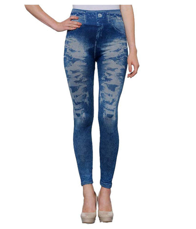 Oleva Blue Cotton Lycra Jeggings - mydenimstore