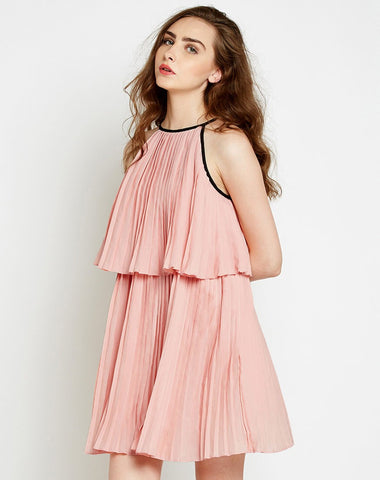 Rose Pleat Scenes Mini Skater Dress
