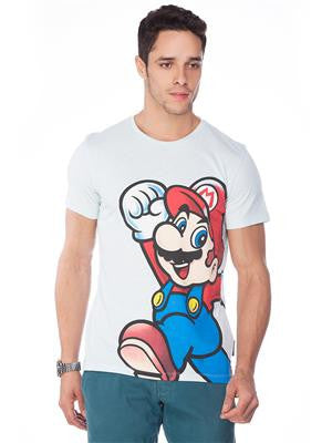 Super Mario Men's Round Neck Blue T-Shirt - mydenimstore
