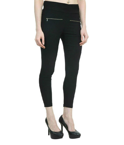 Thinline Black Lycra Jeggings For Women - mydenimstore