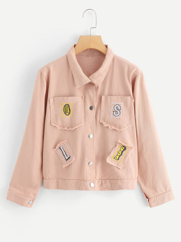 Letter Embroidered Single Breasted Jacket
