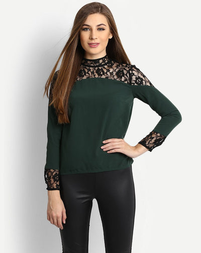 Abbith Multi Lace Blouse Dark Green Women's Top