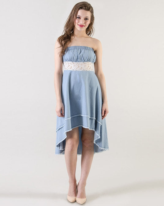Light Blue Denim Midi Skater Dress