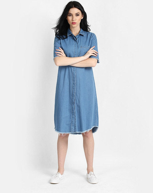 Blue Distress Denim Midi Shirt Women's Dress