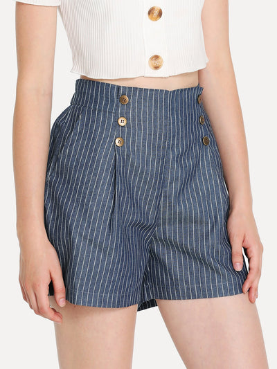Button Front Pinstripe Shorts