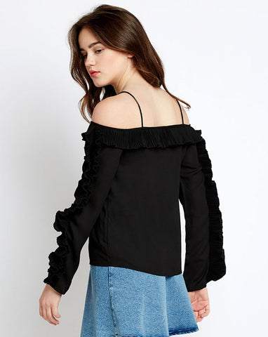 Black Cold Shoulder Pleated Ruffled Blouse Women's Top
