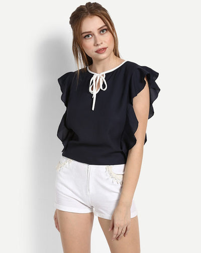 Blue Betsy Ruffled Blouse Women's Top