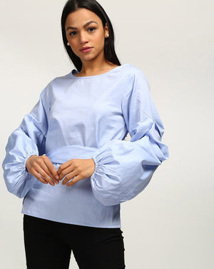 Blue Bell Sleeves Cotton Blouse Women's Top