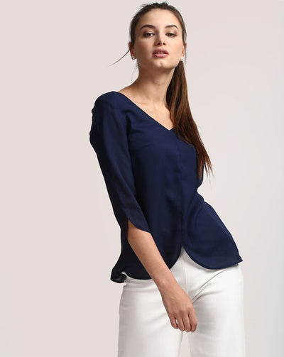Blue Elisia Georgette Cut-out Blouse Women's Top