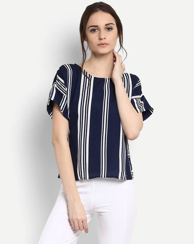 Blue Striped Lucille Blouse Women's Top