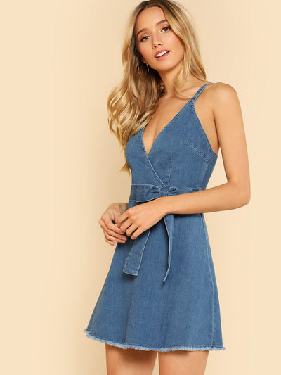 Surplice Denim Tie Waist Dress with Raw Hem
