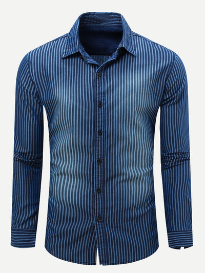 Men Vertical-Striped Long Sleeve Denim Shirt