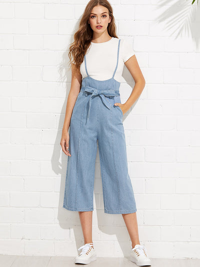 Tie Waist Wide Leg Denim Overalls