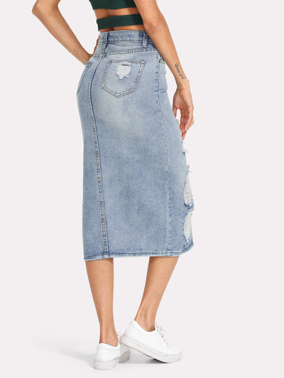Split Front Ripped Denim Skirt