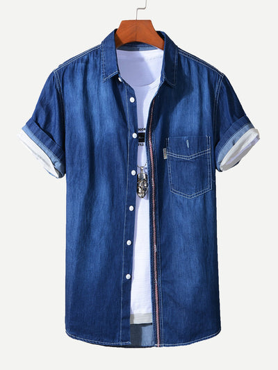 Men Roll Up Sleeve Denim Shirt