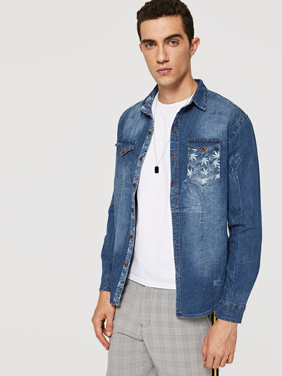 Men Leaf Print Denim Shirt