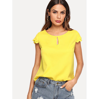 Keyhole Front Layered Scalloped Sleeve Top