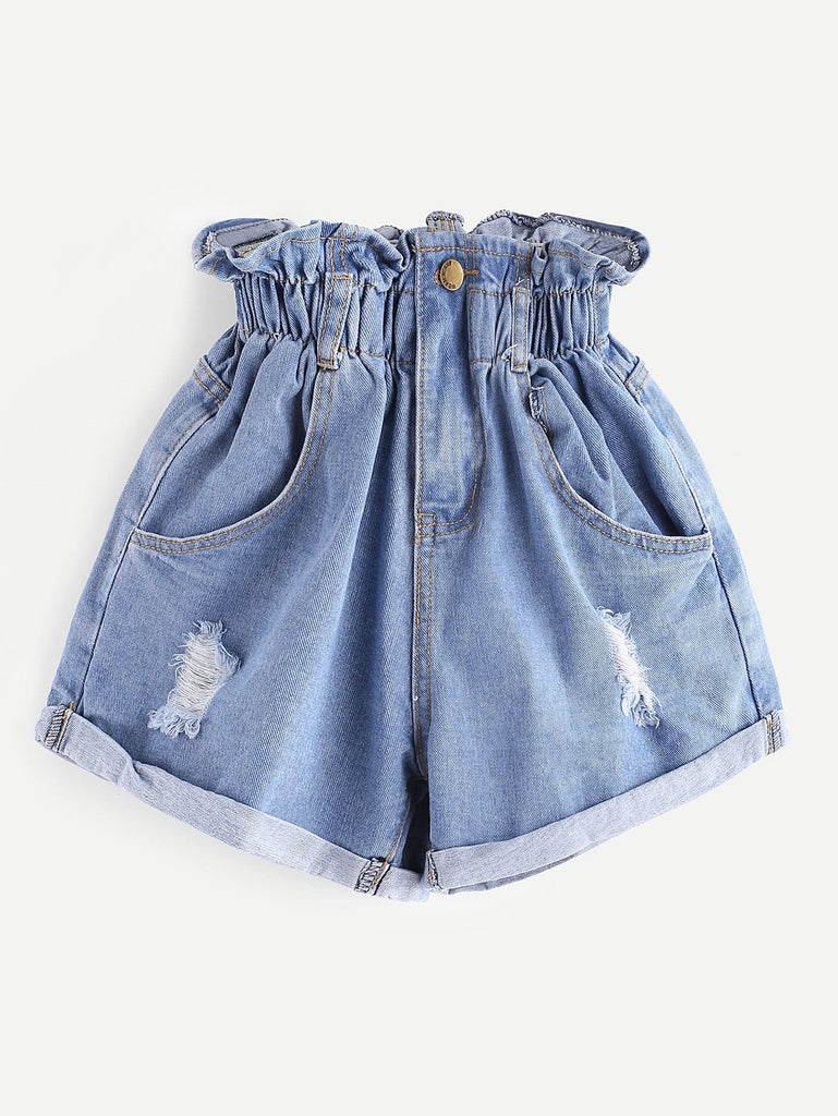 Shirred Frill Trim Ripped Rolled Hem Denim Shorts
