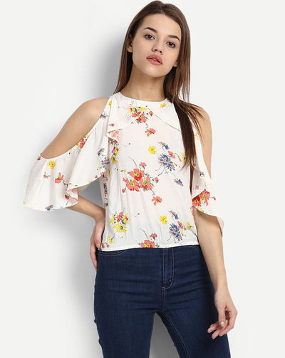 Floral Myrtice Cold Shoulder Women's Top