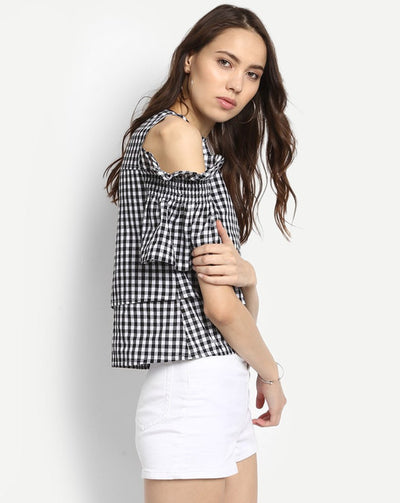 Checks & Plaid Cold Shoulder Cotton Casual Women's Top