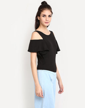 Black Cold Shoulder Cotton Crop Women's Top
