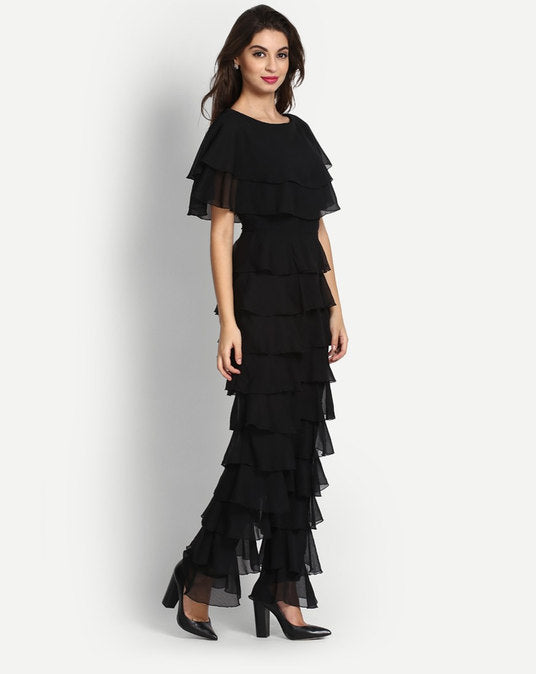 Marshalla Black Ruffle Jumpsuit