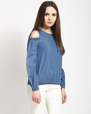 Blue Cold Shoulder Denim Shell Women's Top