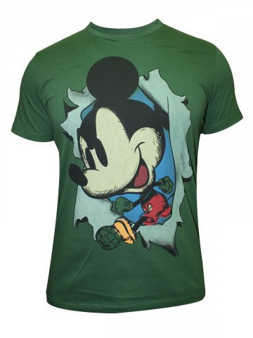 Mickey And Friends Men's Round Neck Green T-shirt - mydenimstore