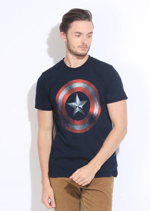 Marvel Printed Men's Round Neck Dark Blue T-Shirt - mydenimstore