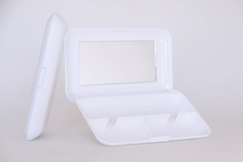 Elegant White Cosmetic Mirror Case