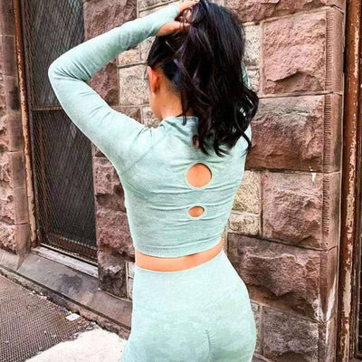 Camo Seamless Yoga  Crop Top Long Sleeves