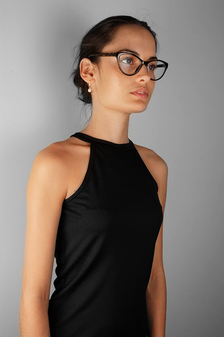 capsule closet basic - breathable black halter top