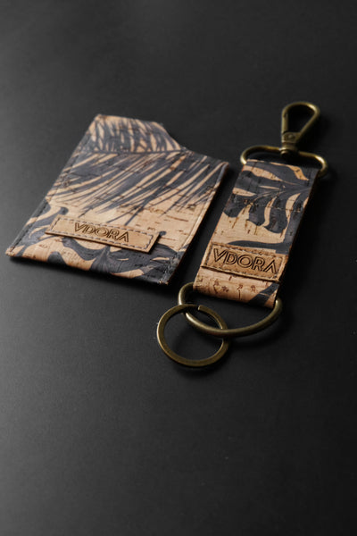cork key & card holder set - slim leather alternative wallet set