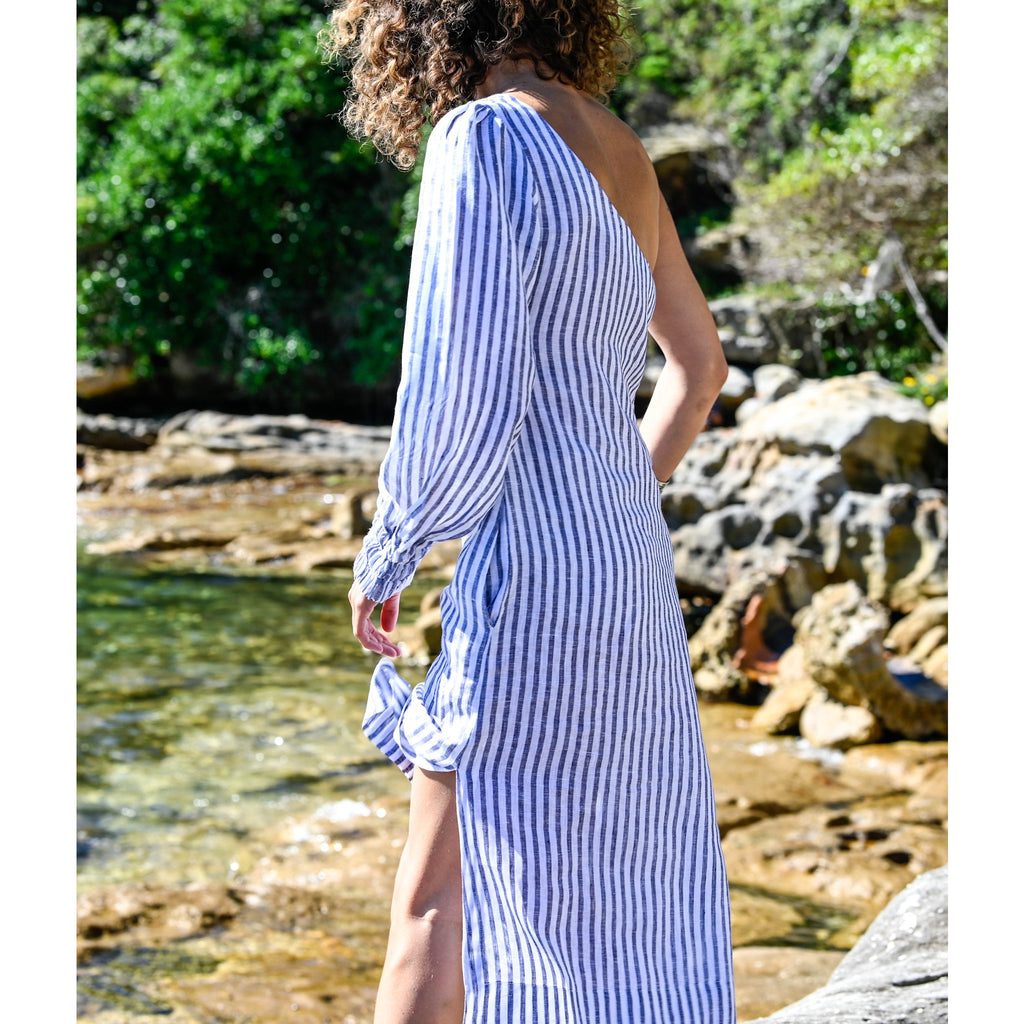 Ocean Linen Dress - one shoulder stripe - Longrass Style
