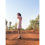 Evening Drink Dress - soft pink linen stripe SALE $219 discounted to $150 - LONGRASS STYLE