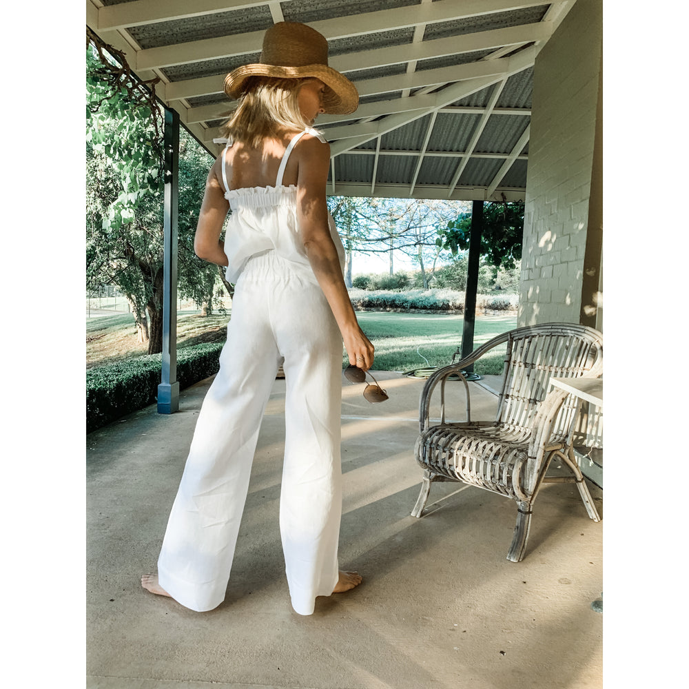 Load image into Gallery viewer, White Olivia Palazzo Pant