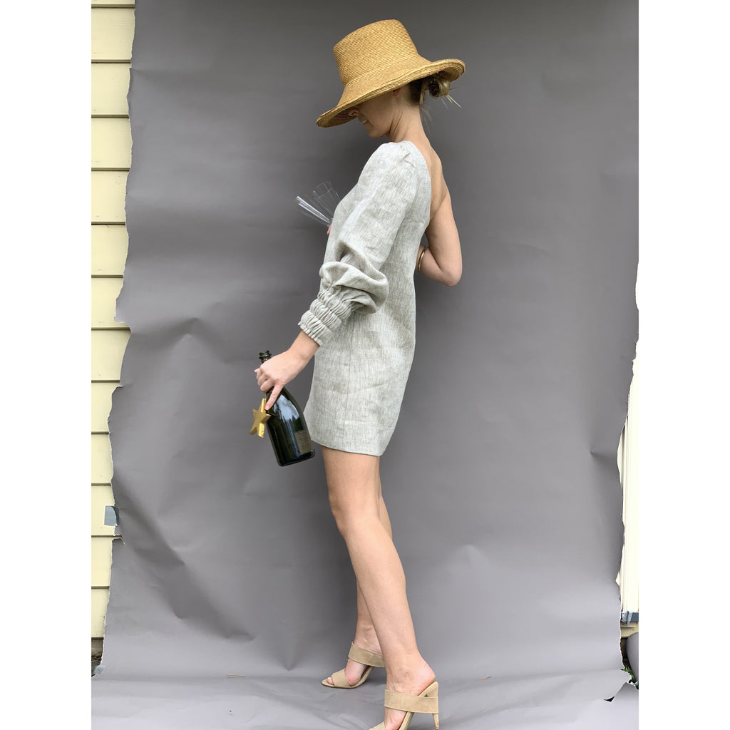 Evening Drink Dress Natural Linen - LONGRASS STYLE