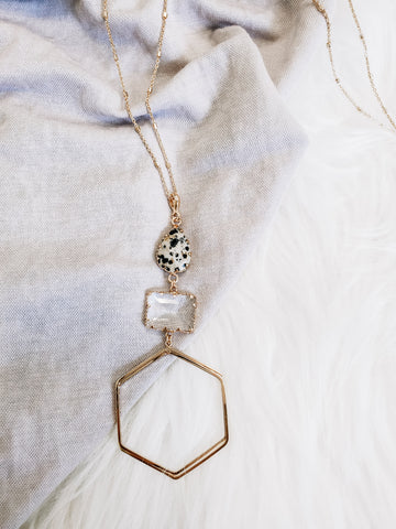 Hexagon Statement Necklace - Spotted
